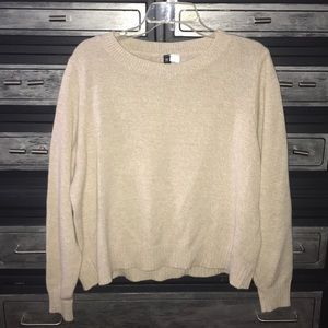 H&M crew neck tan color long sleeve sweater